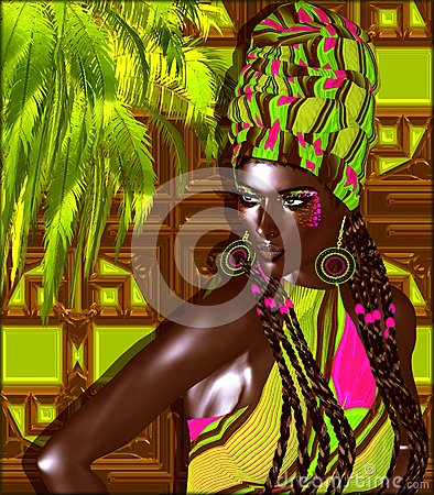 Free African American Fashion Beauty. A Stunning Colorful Image Of A Beautiful Woman With Matching Makeup, Accessories And Clothing Aga Royalty Free Stock Images - 74937049
