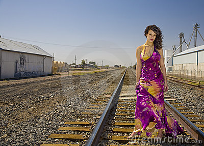 African American Fashion Model on Railroad Tracks