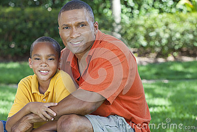 African American Father and Son Family Outside