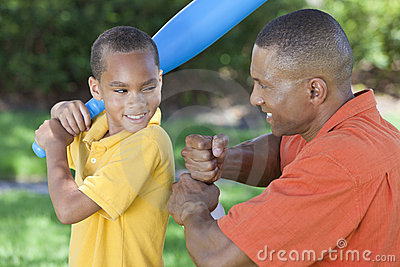 African American Father & Son Playing Baseball