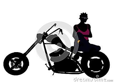 African American Female Biker Silhouette