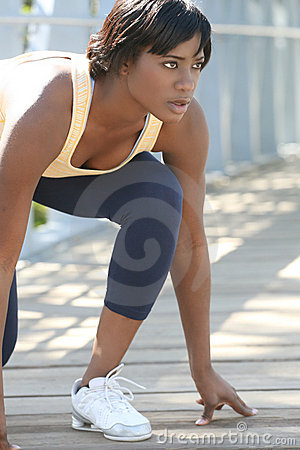 African-American Female Exercising, Stretching