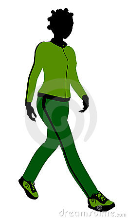 African American Female Jogger  Silhouette
