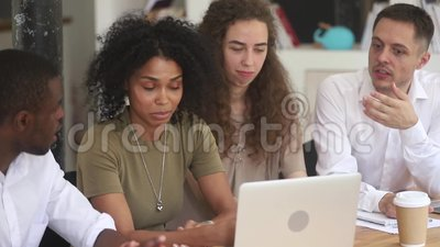 African female mentor teach diverse employees explain computer work. African american female mentor teacher team leader teach diverse employees research group stock video