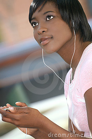 African-American Female with Mp-3 Player