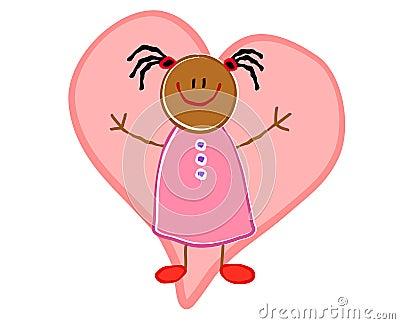 African American Girl Heart