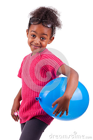 African American girl holding a blue balloon