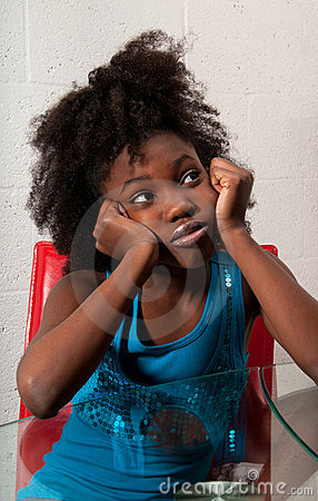 African American girl seated