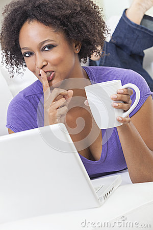 African American Girl Using Laptop Computer
