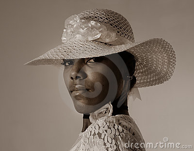 African american girl wearing a hat