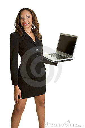 African American Laptop Woman