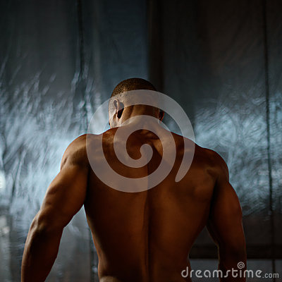 Free African American Male Body Builder Posing On A Studio Background. Back View Stock Photo - 72638890