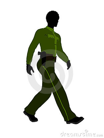 African American Male Sheriff Silhouette