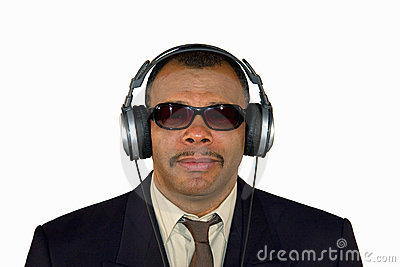 An African-American man with headphones
