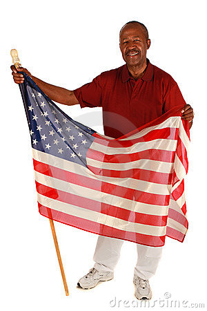 African American man holding American Flag
