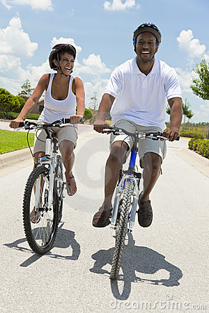 African American Man & Woman Couple Cycling