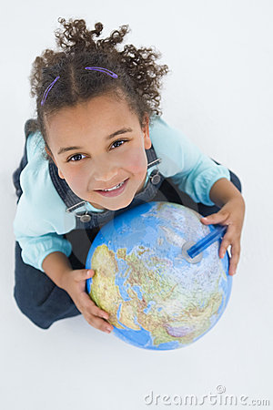 African American Mixed Race Girl Holding A Globe