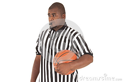 African American model in basketball referee uniform