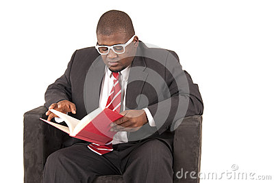 African American model in gray business suit red striped tie