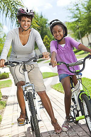 African American Mother & Daughter, Cycling
