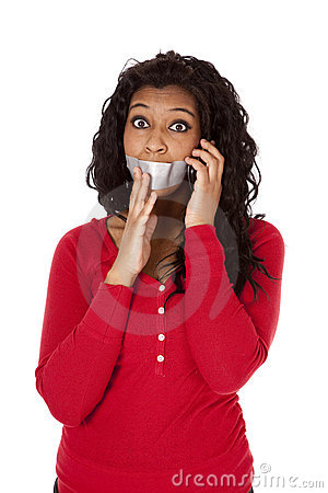 African American mouth taped phone