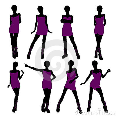 African American Punk Girl Illustration Silhouette