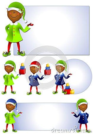 African American Santa Elf Clip Art