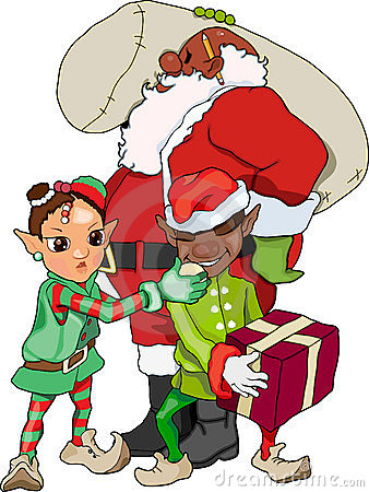 African American Santa and Elves