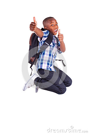 Free African American School Boy Jumping And Making Thumbs Up - Black Royalty Free Stock Photography - 33447307