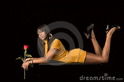African-American  sexy girl with rose