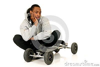 African American skateboarder