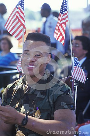 African-American Soldier in Wheelchair Editorial Stock Photo