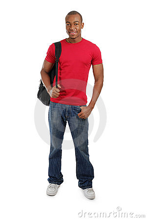 African american student with bag