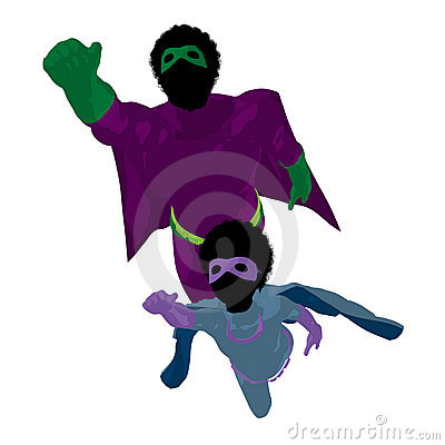 African American Super Hero Dad Illustration
