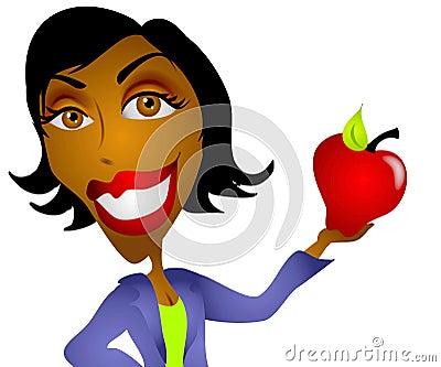 African American Teacher Apple