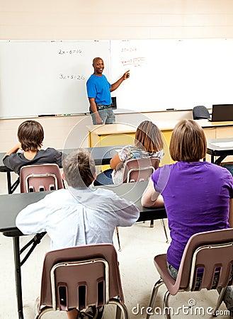 African-American Teacher and Class