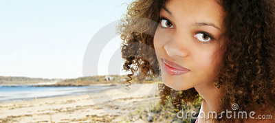 African American Teen at the Beach