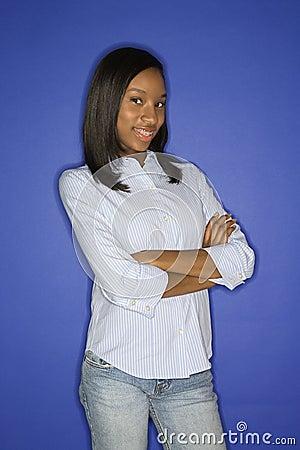 African-American teen girl portrait.