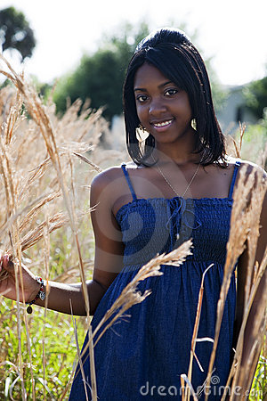 African American teen in nature
