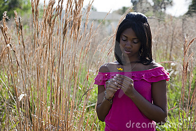 African American teen in nature