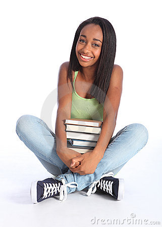Free African American Teenage School Girl With Books Royalty Free Stock Photos - 20871018