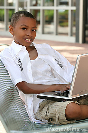 African American Teenager Boy on Laptop Computer