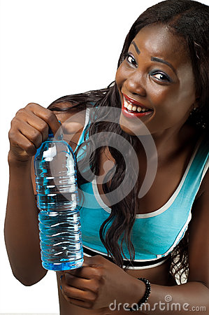 African American woman with bottle of water