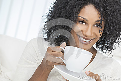 African American Woman Drinking Coffee or Tea