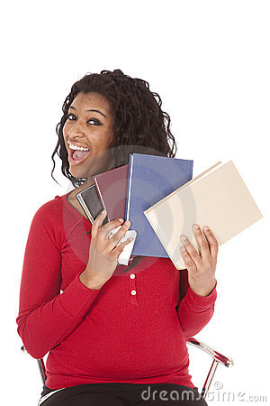 African American woman fanning books