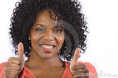 African American woman gives a thumbs up