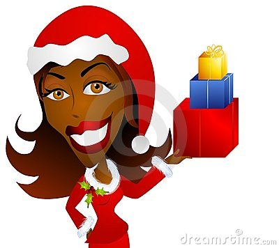 African American Woman Holding Christmas Gifts