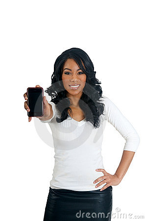 African American Woman holding a phone