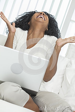 African American Woman Laptop Computer Laughing