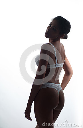 African American woman in lingerie
